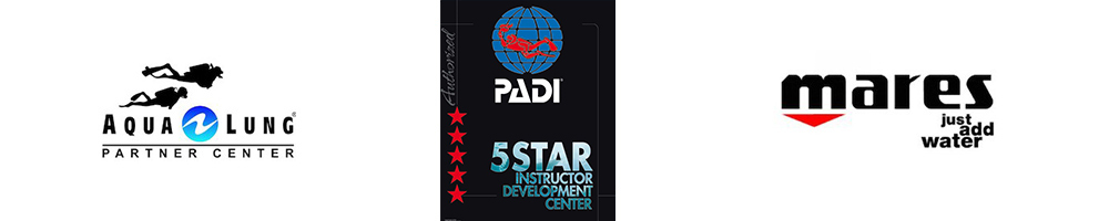 Tri logo Aqualung Mares and PADI 4 Star